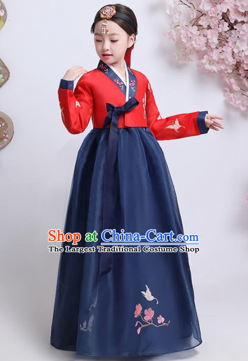 Asian Korean Traditional Costumes Korean Hanbok Red Blouse and Navy Skirt for Kids