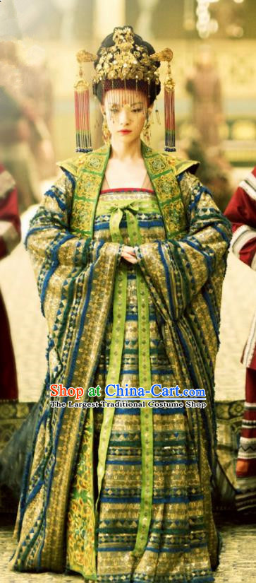 The Rise of Phoenixes Ancient Chinese Drama Tang Dynasty Princess Consort Wedding Embroidered Costumes and Headpiece Complete Set