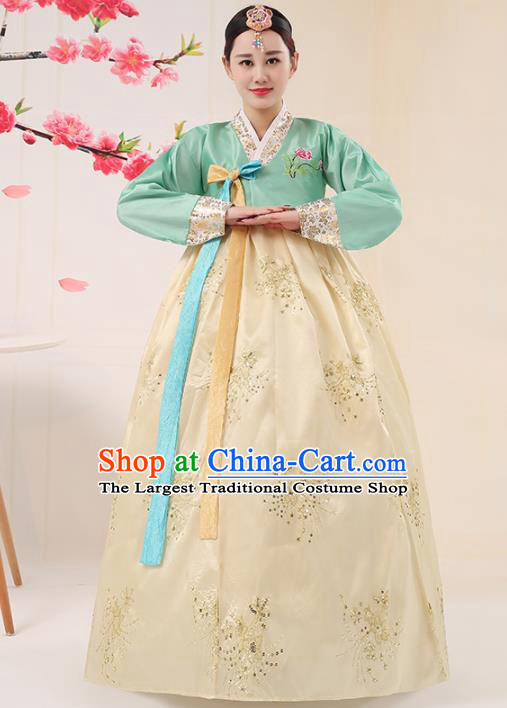 Korean Traditional Palace Costumes Asian Korean Hanbok Bride Embroidered Green Blouse and Yellow Skirt for Women