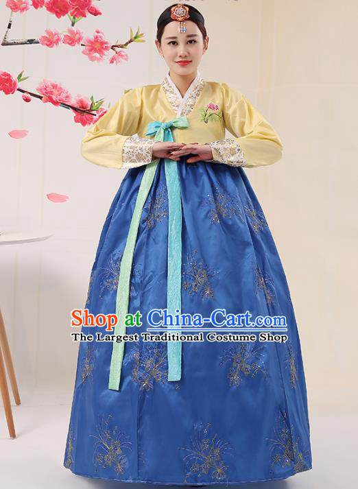 Korean Traditional Palace Costumes Asian Korean Hanbok Bride Embroidered Yellow Blouse and Blue Skirt for Women