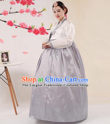 Korean Traditional Palace Costumes Asian Korean Hanbok Bride White Blouse and Grey Skirt for Women