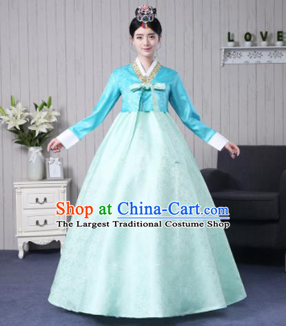 Traditional Korean Palace Costumes Asian Korean Hanbok Bride Blue Blouse and Green Skirt for Women