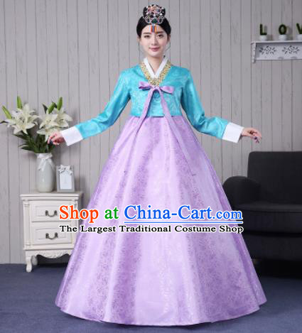 Traditional Korean Palace Costumes Asian Korean Hanbok Bride Blue Blouse and Lilac Skirt for Women