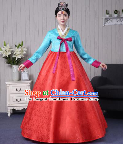 Traditional Korean Palace Costumes Asian Korean Hanbok Blue Blouse and Red Skirt for Women