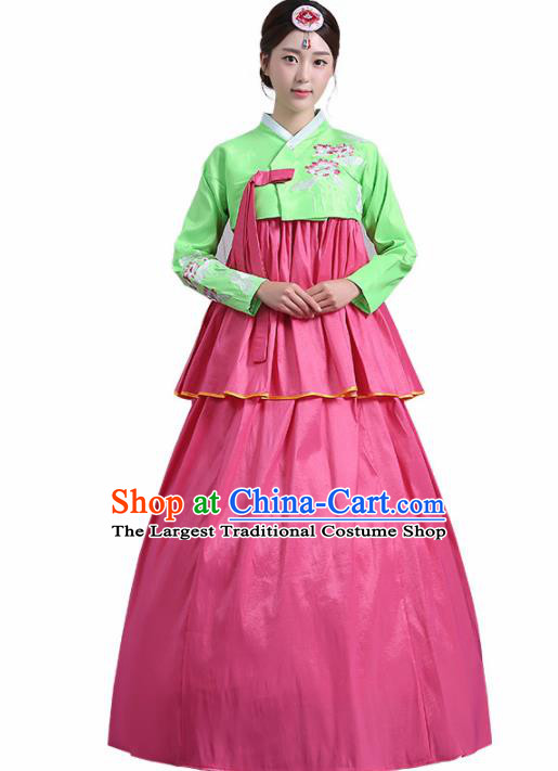 Traditional Korean Costumes Asian Korean Palace Hanbok Green Blouse and Pink Skirt for Women