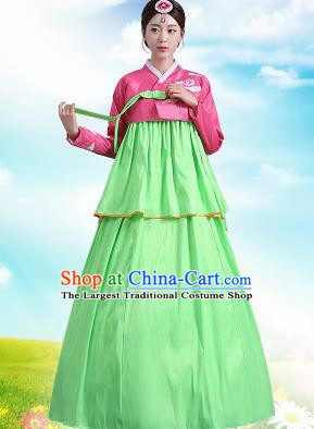 Traditional Korean Costumes Asian Korean Palace Hanbok Pink Blouse and Green Skirt for Women