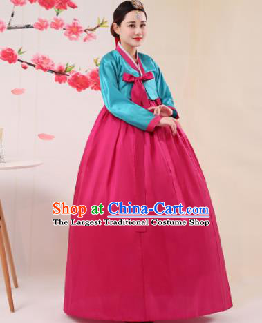 Korean Traditional Palace Costumes Asian Korean Hanbok Bride Blue Blouse and Rosy Skirt for Women