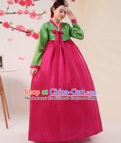 Korean Traditional Palace Costumes Asian Korean Hanbok Bride Green Blouse and Rosy Skirt for Women