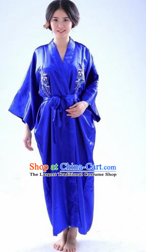Traditional Japanese Costumes Asian Japan Kimono Blue Silk Yukata for Women