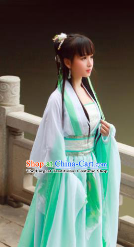 Chinese Ancient Cosplay Princess Costumes Traditional Tang Dynasty Green Hanfu Dress for Women