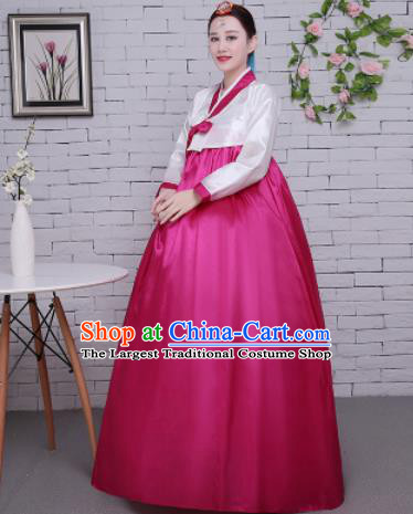 Korean Traditional Palace Costumes Asian Korean Hanbok Bride White Blouse and Rosy Skirt for Women