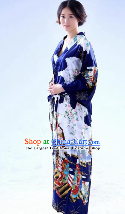 Traditional Japanese Costumes Asian Japan Kimono Printing Navy Yukata for Women