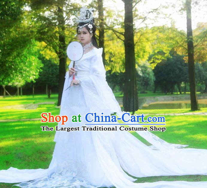 Chinese Ancient Cosplay Peri Princess White Hanfu Dress Traditional Tang Dynasty Swordswoman Costume for Women
