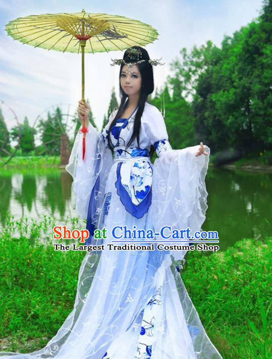 Chinese Ancient Cosplay Peri Princess Blue Hanfu Dress Traditional Tang Dynasty Swordswoman Costume for Women