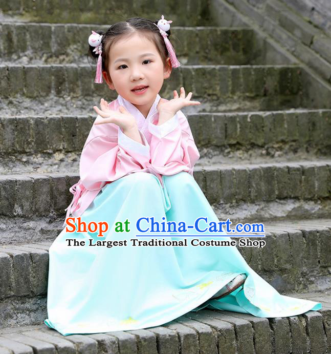 Traditional Chinese Ancient Ming Dynasty Costumes Pink Blouse and Green Skirt for Kids