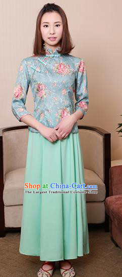 Chinese Ancient Nobility Lady Costumes Traditional Embroidered Green Qipao Blouse and Skirt for Women