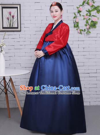 Korean Traditional Palace Costumes Asian Korean Hanbok Bride Red Blouse and Navy Skirt for Women