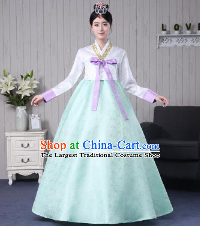 Traditional Korean Palace Costumes Asian Korean Hanbok Bride White Blouse and Green Skirt for Women