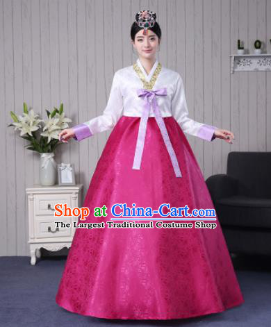 Traditional Korean Palace Costumes Asian Korean Hanbok Bride White Blouse and Rosy Skirt for Women