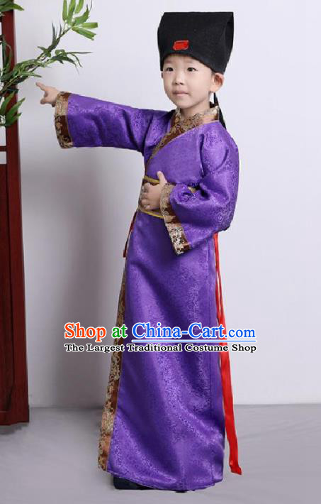 Chinese Ancient Scholar Costumes Traditional Purple Robe for Kids