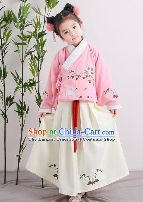 Chinese Ancient Ming Dynasty Children Costumes Traditional Pink Blouse and White Skirt for Kids