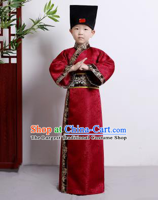 Chinese Ancient Scholar Costumes Traditional Red Robe for Kids