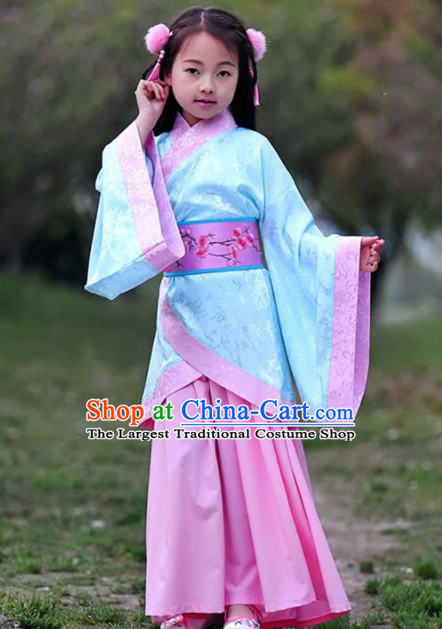 Chinese Ancient Han Dynasty Princess Costumes Traditional Blue Curving-Front Robe for Kids