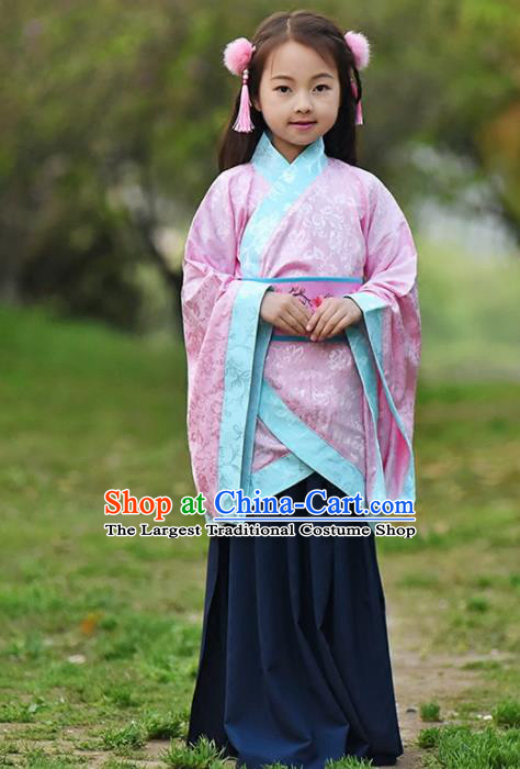 Chinese Ancient Han Dynasty Princess Costumes Traditional Pink Curving-Front Robe for Kids