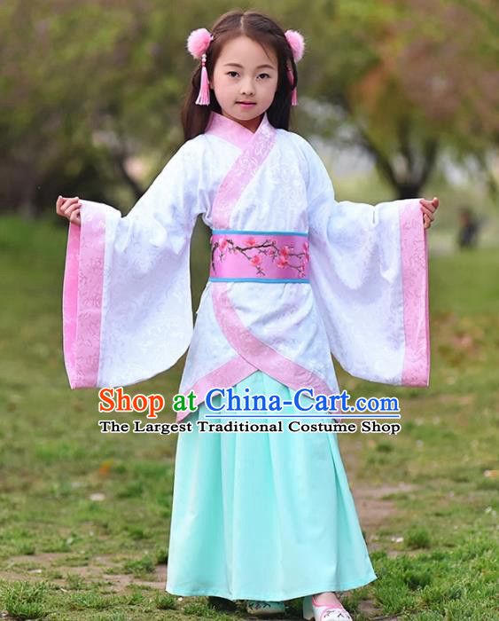 Chinese Ancient Han Dynasty Princess Costumes Traditional White Curving-Front Robe for Kids