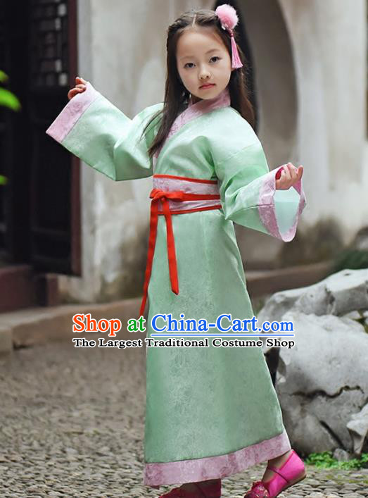 Chinese Ancient Han Dynasty Princess Costumes Traditional Green Hanfu Dress for Kids