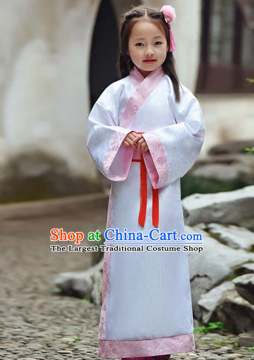 Chinese Ancient Han Dynasty Princess Costumes Traditional White Hanfu Dress for Kids