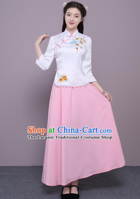 Chinese Ancient Bridesmaid Costumes Traditional Embroidered White Qipao Blouse and Pink Skirt for Women