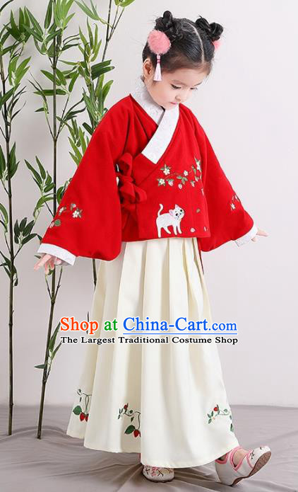 Chinese Ancient Ming Dynasty Children Costumes Traditional Red Blouse and Beige Skirt for Kids