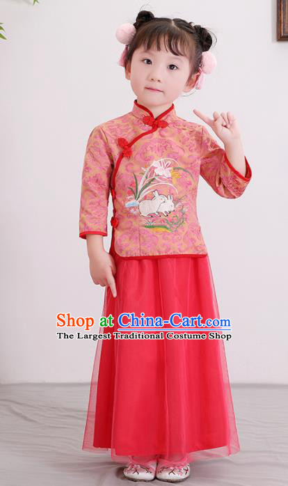 Chinese Ancient Republic of China Children Costumes Traditional Blouse and Skirt for Kids