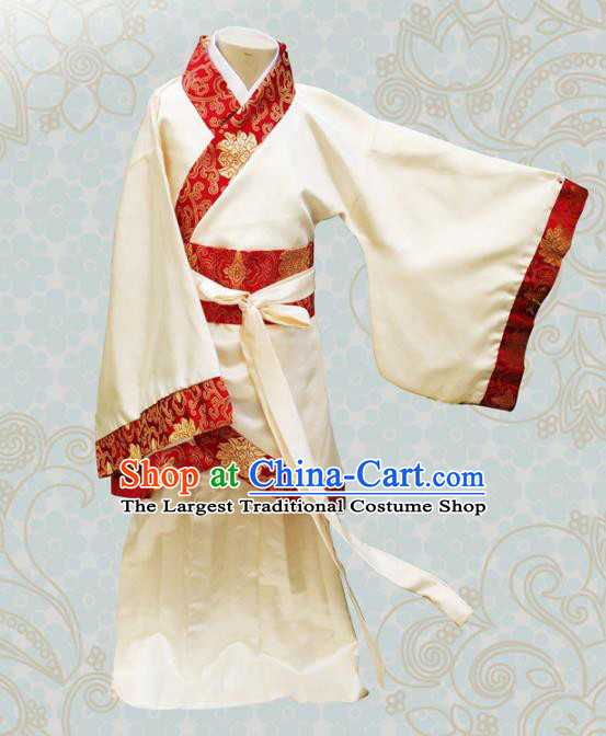 Chinese Ancient Fairy Yellow Hanfu Dress Han Dynasty Princess Costume for Kids