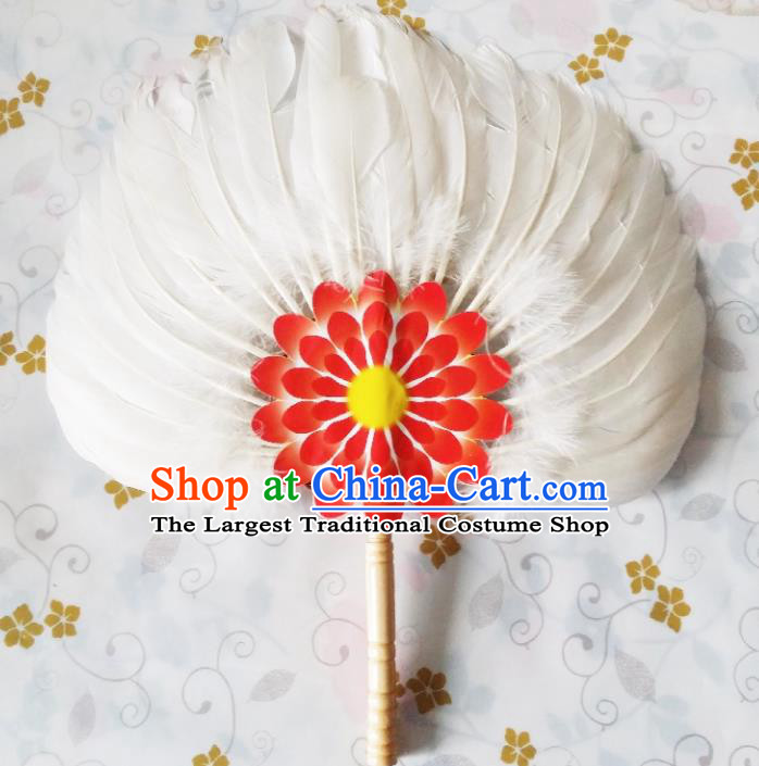 Traditional Chinese White Feather Fans Dance Fans