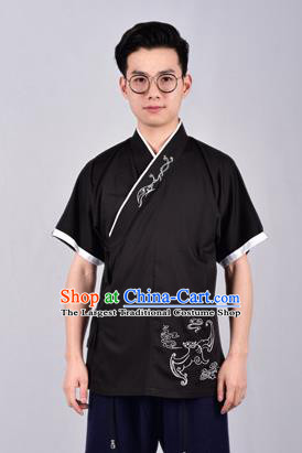 Chinese Ancient Swordsman Hanfu Han Dynasty Costume Black Tang Suit Shirt for Men