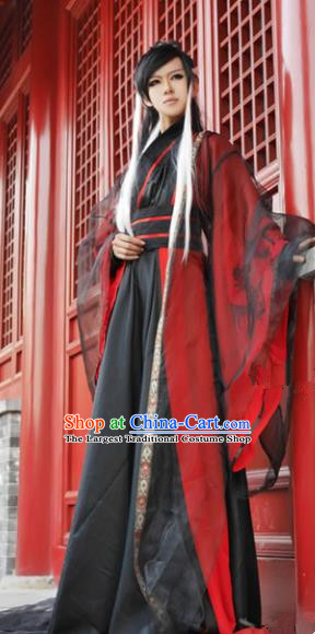 Chinese Ancient Swordsman Black Hanfu Han Dynasty Nobility Childe Costume for Men