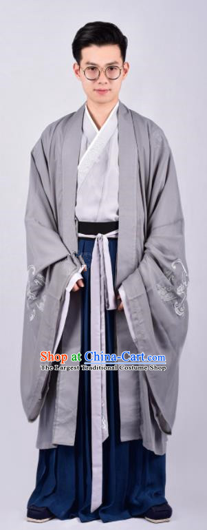 Chinese Ancient Swordsman Grey Clothing Traditional Ming Dynasty Cabinet Minister Costumes for Men
