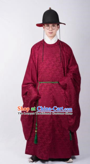Chinese Ancient Swordsman Red Robe Traditional Ming Dynasty Imperial Bodyguard Costumes for Men
