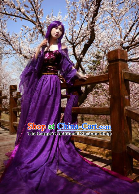 Chinese Ancient Cosplay Peri Goddess Purple Hanfu Dress Traditional Tang Dynasty Princess Costume for Women