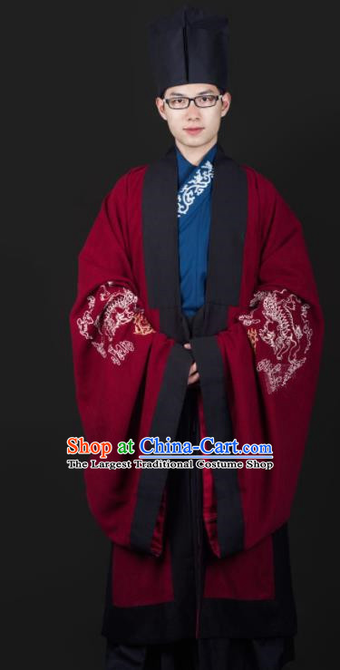 Chinese Ancient Cabinet Minister Clothing Traditional Ming Dynasty Swordsman Costume for Men