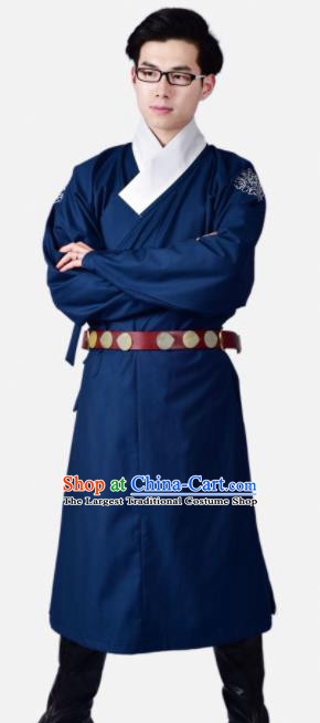 Chinese Ancient Swordsman Blue Clothing Traditional Ming Dynasty Buster Costume for Men