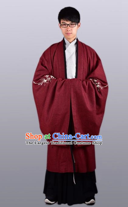 Chinese Ancient Traditional Ming Dynasty Taoist Priest Costume Scholar Red Cloak for Men