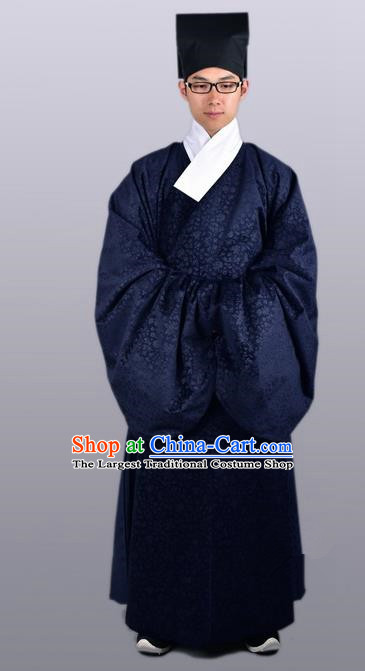 Chinese Ancient Traditional Ming Dynasty Taoist Priest Costume Navy Priest Frock for Men