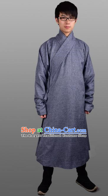 Chinese Ancient Traditional Ming Dynasty Swordsman Costumes Grey Robe for Men