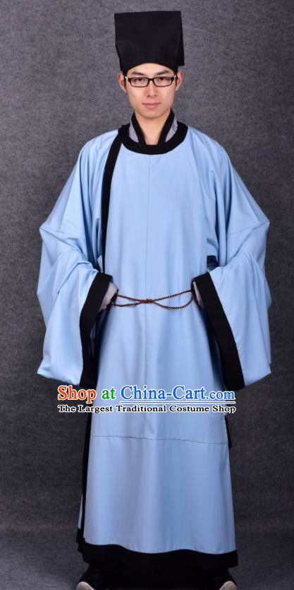 Chinese Ancient Traditional Song Dynasty Scholar Costumes Blue Robe for Men