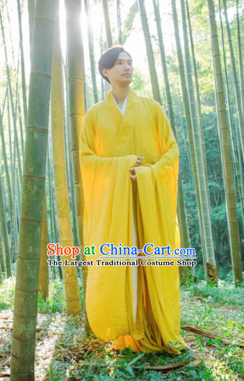 Chinese Ancient Traditional Jin Dynasty Swordsman Hermit Yellow Costumes for Men