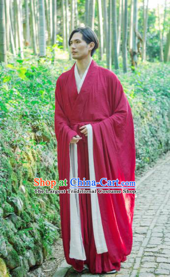 Chinese Ancient Traditional Jin Dynasty Scholar Swordsman Hermit Red Costumes for Men
