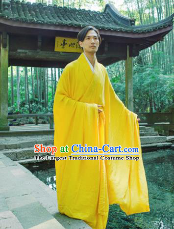 Chinese Ancient Traditional Jin Dynasty Scholar Swordsman Hermit Yellow Costumes for Men